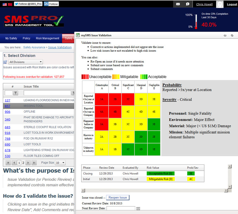 monitoring risk using issue validation module by sms pro